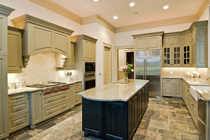 granite countertops mixed cabinets